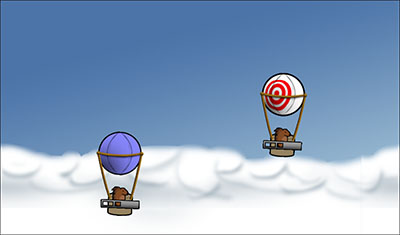 Screenshot of porcupines flying balloons.