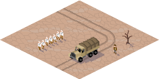 Pixel art of a truck and workers